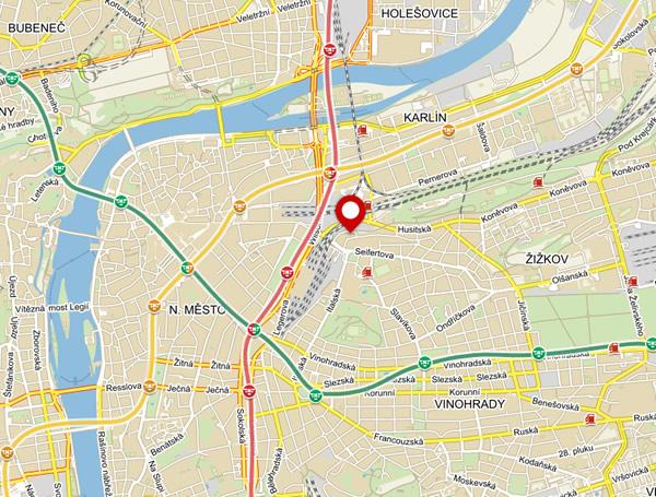 Mapa - výdejní místo Praha 3