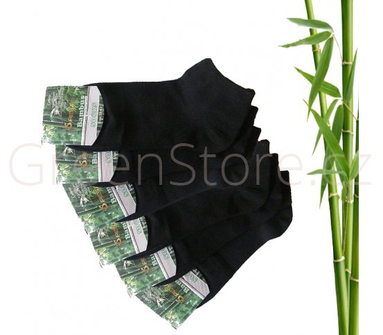 Bambusové ponožky dámské kotníkové, černé 39-42, 6 párů