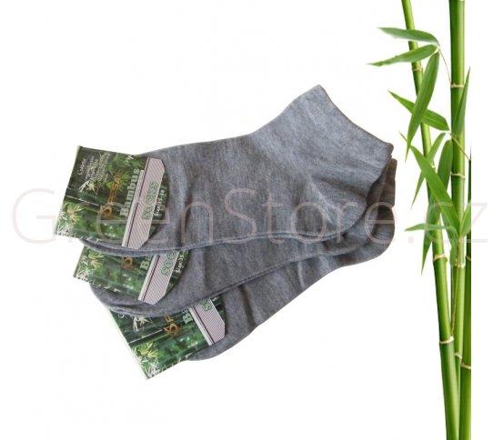 Bambusové ponožky dámské kotníkové, šedé 35-38, 3 páry