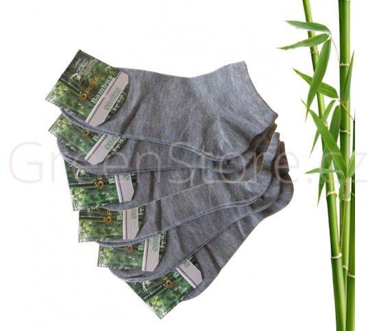 Bambusové ponožky dámské kotníkové, šedé 35-38, 6 párů