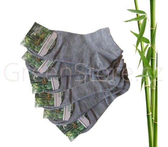 Bambusové ponožky dámské kotníkové, šedé 39-42, 6 párů