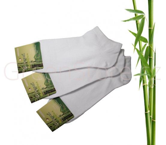 Bambusové ponožky dámské kotníkové, bílé 39-42, 3 páry