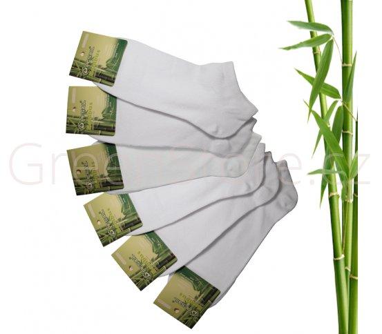 Bambusové ponožky dámské kotníkové, bílé 39-42, 6 párů