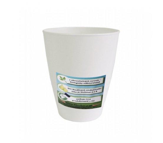 Nápojový kelímek 250ml z bioplastu - bílý Biodora