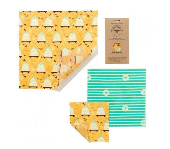 Sada 3ks voskovaných ubrousků Bee Hive The Beeswax Wrap