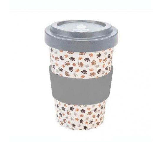 Woodway Kelímek na kávu z bambusu 400ml - Paws Grey