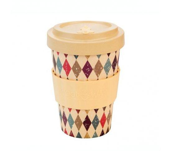 Woodway Kelímek na kávu z bambusu 400ml - Retro diamonds
