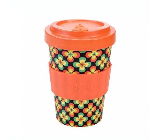 Woodway Kelímek na kávu z bambusu 400ml - Retro Flowers orange
