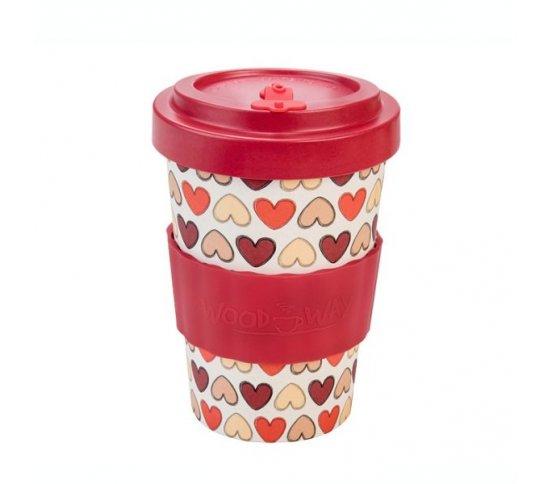 Woodway Kelímek na kávu z bambusu 400ml - Retro Hearts