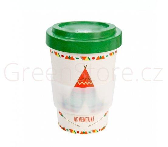 Woodway Kelímek na kávu z bambusu 400ml - Tent Green