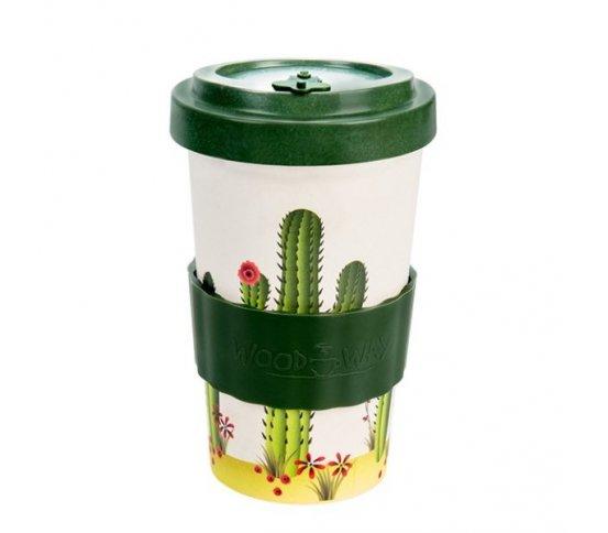 Woodway Kelímek na kávu z bambusu 500ml - Cactus Green