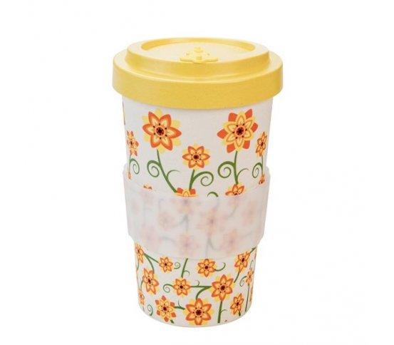 Woodway Kelímek na kávu z bambusu 500ml - Flowers