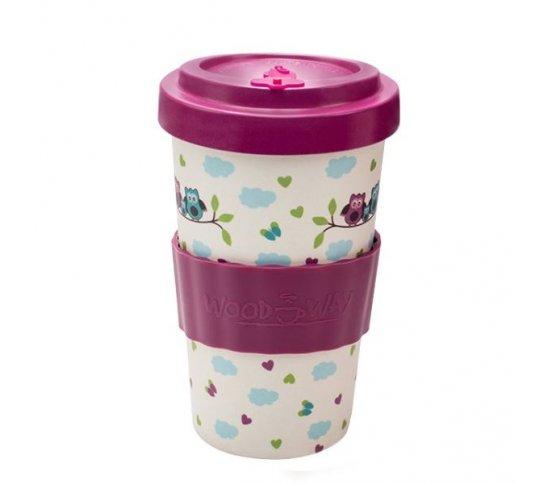 Woodway Kelímek na kávu z bambusu 500ml - Owls Purple