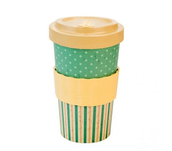 Woodway Kelímek na kávu z bambusu 500ml - Retro Dots