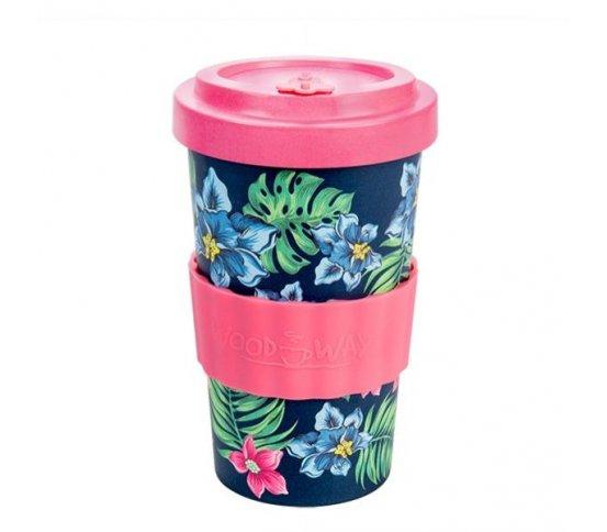 Woodway Kelímek na kávu z bambusu 500ml - Tropical Pink